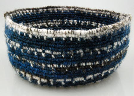 Coiled basket dyed with woad
