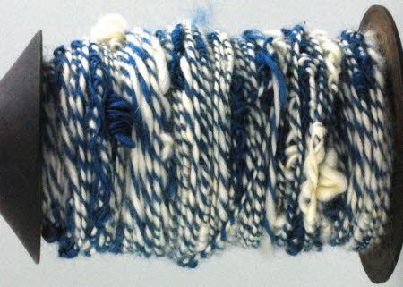 snarled wool dyed with woad